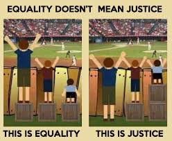 In fact: there can be no Justice with 'equality'. Some take a bigger place in life than others. The old precede the young and merit is what counts among men. With 'equality' the weak are empowered at the cost of the strong. With Justice, the strong take their responsibilities towards the weak and receive higher status in return.